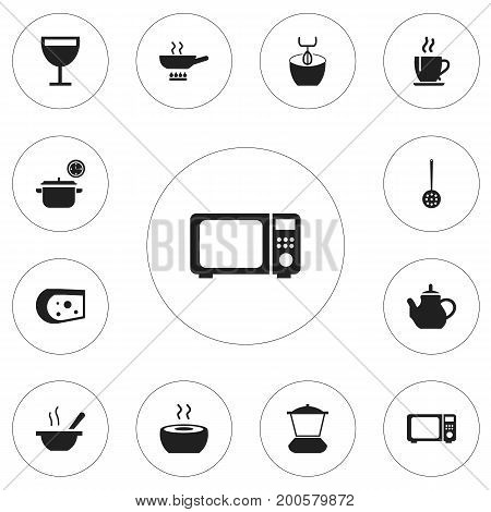 Set Of 12 Editable Restaurant Icons. Includes Symbols Such As Stewpot, Saucepan, Stir And More
