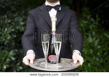 Professional Waiter Serving Champagne Wine Glasses