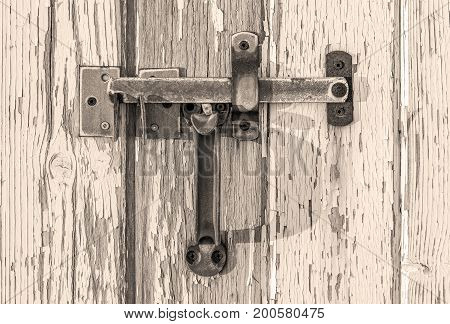 Vintage Rusty Latch On Wooden Door With Peeling Paint, Rustic Texture