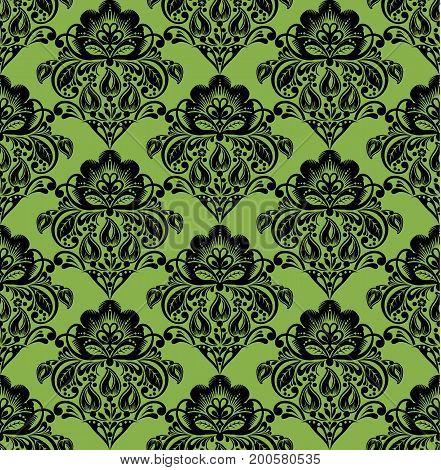 Black hohloma style flowers on greenery seamless pattern background,