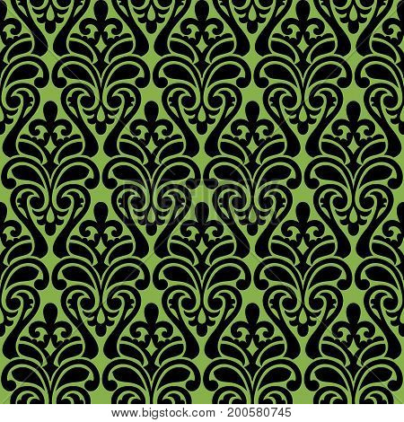 Black damascus ornament, seamless pattern on greenery background, .