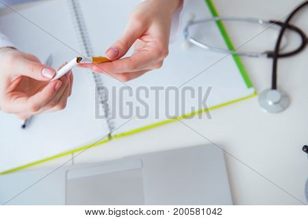 Doctor in anti smoking  concept