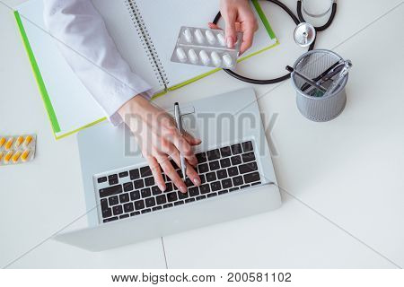 Hand writing medical prescription in computer
