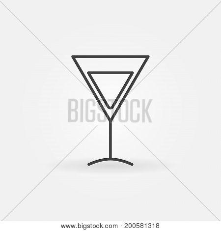 Martini glass vector icon - minimal outline symbol or design element