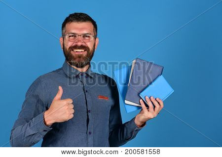 Professor With Happy Smiling Face. Teacher Wears Glasses