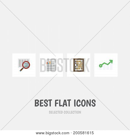 Flat Icon Gain Set Of Document, Growth, Counter And Other Vector Objects