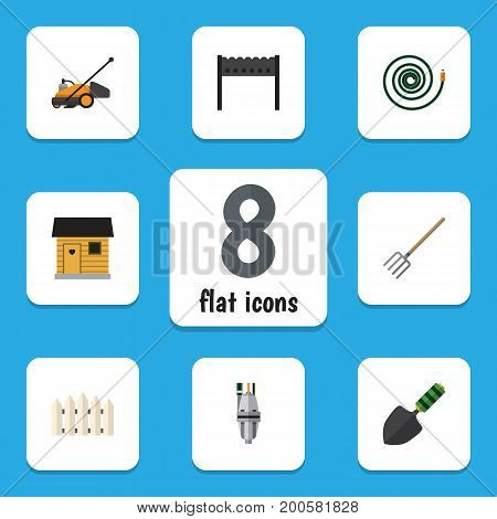 Flat Icon Garden Set Of Lawn Mower, Wooden Barrier, Hay Fork And Other Vector Objects