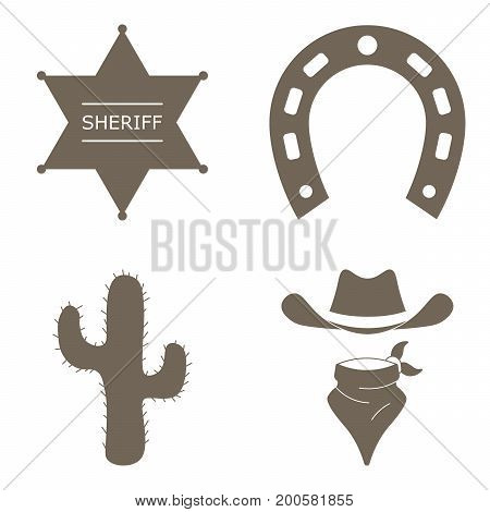 Wild west realistic icons set with cowboy hat, cactus, star sheriff and horseshoe, isolated vector illustration.