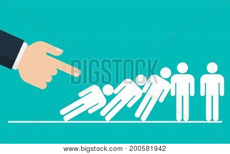 Domino Effect. Big hand is pushing down a businessman group. Corporate domino effect concept.