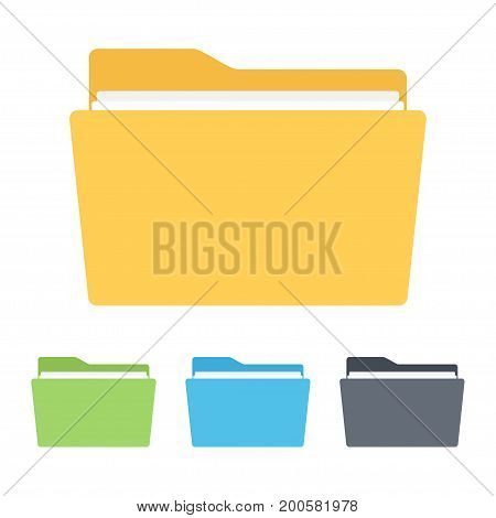 Folder icon. Collection of file folders for documents. vector illustration