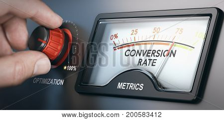 Hand turning optimization knob up to 100 percent and dial indicating conversion rate metrics. CRO concept. Composite image between a hand photography and a 3D background.