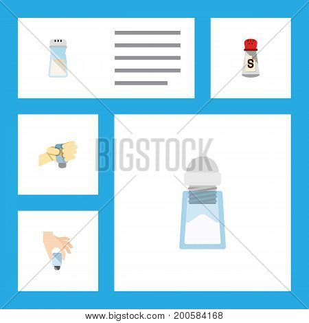 Flat Icon Flavor Set Of Flavor, Sodium, Saltshaker And Other Vector Objects