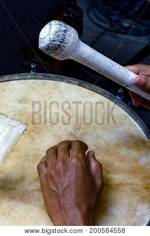 Drums being played during samba performance at Rio de Janeiro carnival