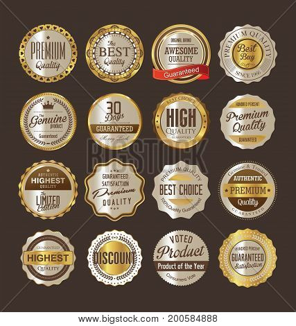 Premium Quality Retro Vintage Golden Labels Collection 01.eps