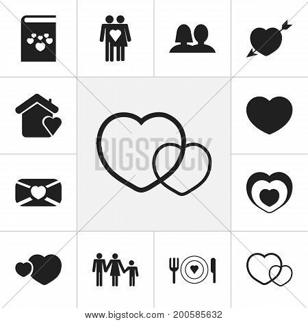 Set Of 12 Editable Love Icons. Includes Symbols Such As Soul, House, Textbook And More