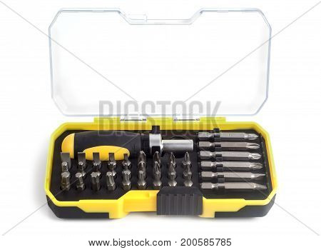 Compact set of tools for working on a white background