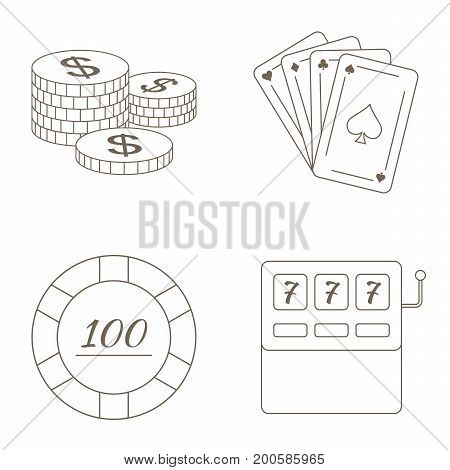 Simple set collection of gambling related vector line icons. Vector black casino icons set.