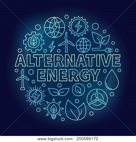 Alternative energy blue illustration - vector round symbol made with wind, solar, water power outline icons