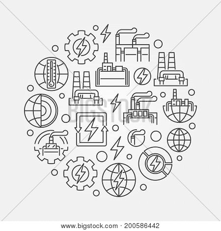 Geothermal renewable energy illustration - vector round energy and power symbol in thin line style