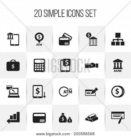 Set Of 20 Editable Financial Icons. Includes Symbols Such As Townhouse, Purchase, Remuneration And More