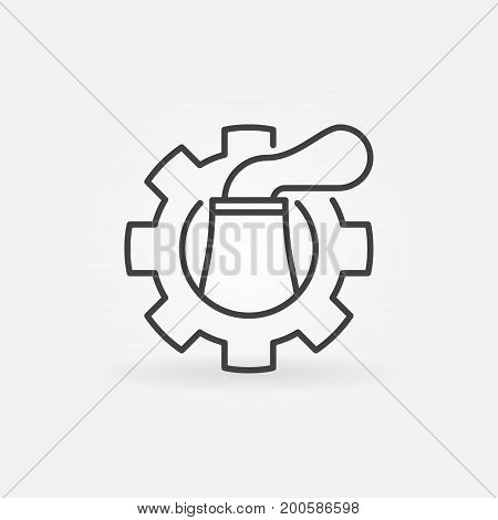 Nuclear plant in cog icon - vector thin line concept symbol or design element