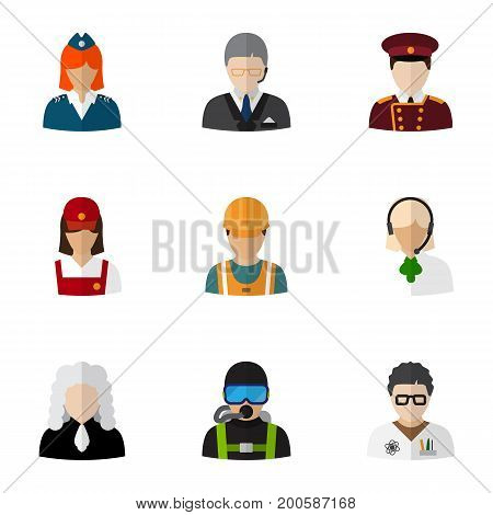 Set Of 9 Editable Profession Flat Icons. Includes Symbols Such As Doorman, Stewardess, Servant And More