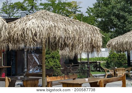 View of cosy nook for summer relaxation below palm sunshade with table, chair and wooden bench, park  Borisova   gradina, Sofia, Bulgaria