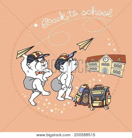 Bears and paper airplane. Cute bear and satchel.  Back to School. Two Bears and school building isolated on rose background. Vector.