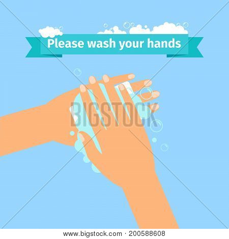Please wash your hands disinfection concept. Man washing hands. Vector illustration