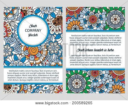 Brochure design template for company with blue floral decorative background. Vector illustration