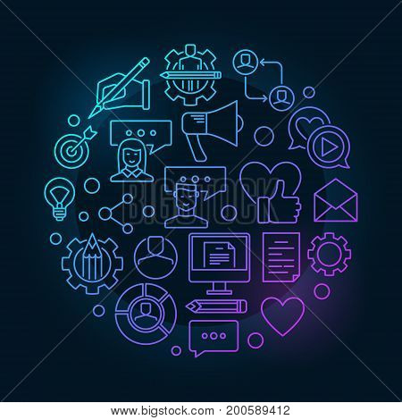 Blog concept illustration - vector outline modern symbol made with blogging and blogger linear icons on dark background