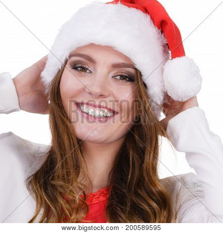 Woman In Santa Claus Hat Free And Happy