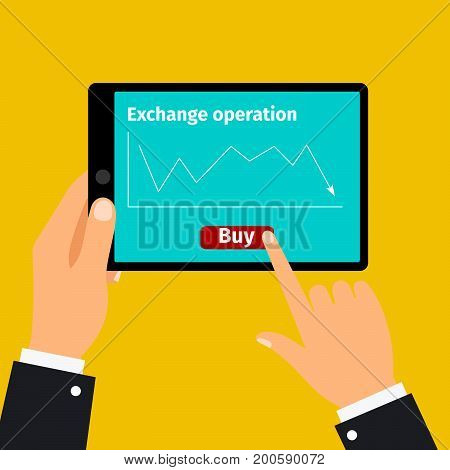 Tablet with stock exchange buying graphic on screen, vector illustration