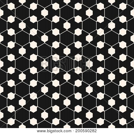 Vector ornamental geometric texture. Abstract monochrome seamless pattern. Thin lines delicate hexagonal structure. Black & white background, repeat tiles. Modern design for decoration, digital, web.