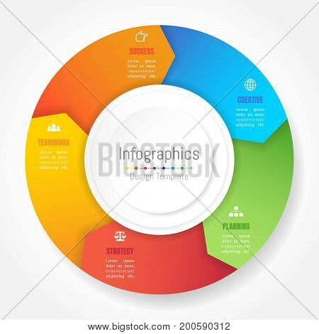 Infographic design elements for your business data with 5 options parts steps timelines or processes Arrow wheel circle style. Vector Illustration.