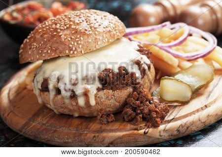 Sloppy joes ground beef burger sandwich with melted cheese