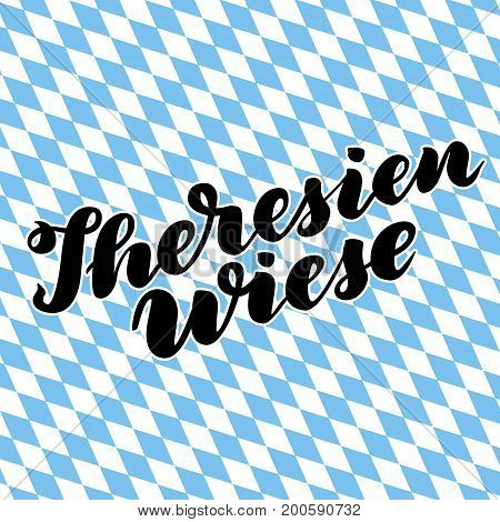 Theresienwiese hand drawn lettering. Vector lettering illustration isolated on white. Template for Traditional German Oktoberfest bier festival
