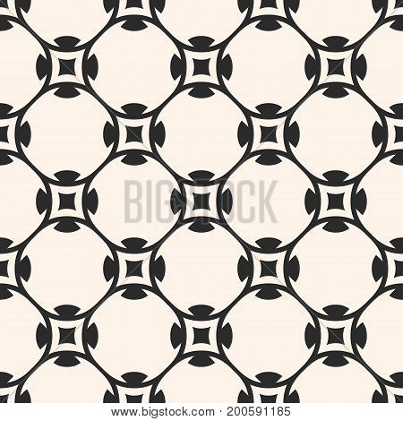 Vector seamless pattern in oriental style. Simple monochrome geometric ornament, abstract endless background texture with round lattice, smooth lines. Design element for prints, textile, fabric, cloth.