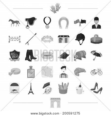 running, animal, landmark and other  icon in black style.tradition, travel, Sight icons in set collection.