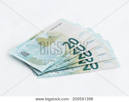 Five  Banknotes Worth 20 Euro Isolated On A White Background