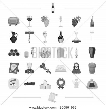 trawl, ritual, religion and other  icon in black style.alcohol, winemaking, viticulture icons in set collection.