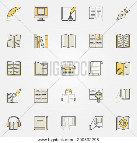 Literature colorful icons set - vector reading and writing creative symbols. Book modern signs or design elements