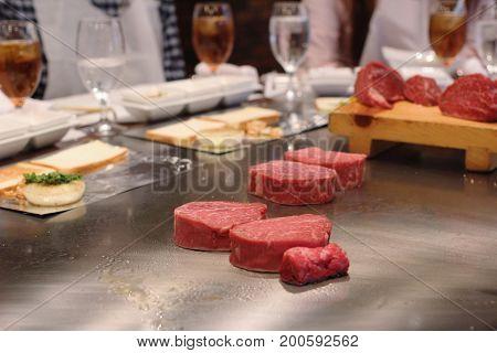 the Grilling beef steak japanese kobe matsusaka