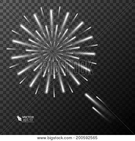 Abstract fireworks explosion on transparent background. New Year celebration fireworks. Holiday fireworks on dark background