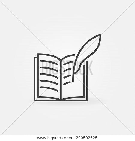 Write a book icon - vector book with a feather quill symbol in thin line style