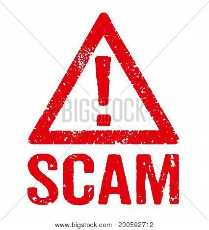 A red stamp on a white background - Scam