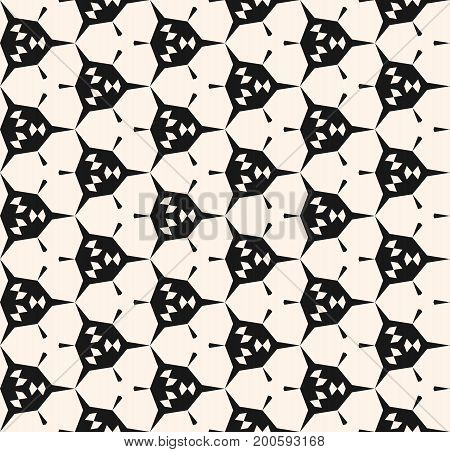 Abstract geometric seamless pattern with angular shapes, hexagonal grid. Modern geometrical monochrome texture, repeat background. Stylish design for tileable print, decor, fabric, furniture, wrapping.