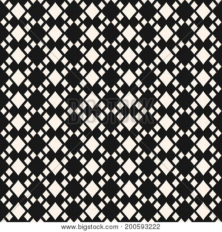 Vector geometric texture with rhombuses. Diamonds seamless pattern, small rhombs, regular grid. Abstract monochrome ornament background, traditional motif. Dark design for decor, fabric, cloth, covers.
