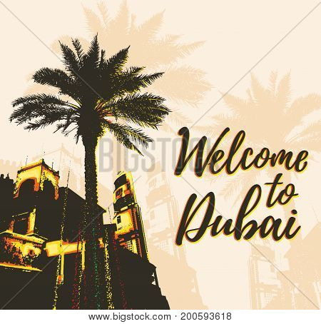 Retro poster with buildings and palm in Dubai city United Arab Emirates. Vector illustration.
