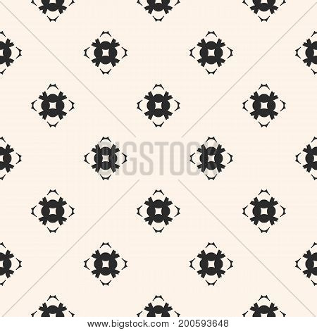 Vector geometric texture. Ornamental seamless pattern. Abstract monochrome background with carved floral shapes, mosaic elements. Repeat ornament tiles. Design for decoration, textile, fabric, cloth.
